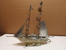 Vintage 1950s Sailing Ship TV Television Lamp Light Ceramic & Metal Works