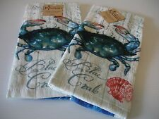 New! Beach Blue Crab Kitchen Towels Dish Towels Hand Tea Terry Cotton Kay Dee
