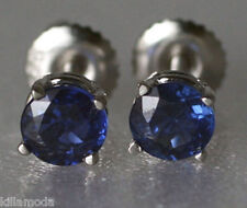 Solid 14K White Gold 1.47ct Kashmir Blue Sapphire Screw Back Stud Earrings $1295
