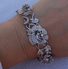 Custom Design 18k rose diamond large Bracelet over 200 diamonds pave set 34g