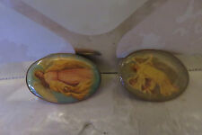 Pair of Oval Vintage Angel Lapel Pins - Enamel Epoxy 1.25""