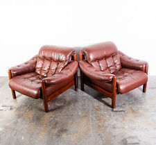 Mid Century Danish Modern Lounge Chair Set Pair Two Sweden Gote Mobler Leather