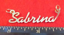 """14KT GOLD EP """"SABRINA"""" PERSONALIZED NAMEPLATE WORD CHARM PENDANT 6351"""