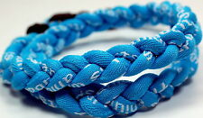 "NEW! BASEBALL Titanium TORNADO Sports Necklace 20"" Light Blue Braided 3 ROPE"