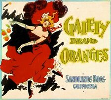 Los Angeles Gaiety French Can-Can Orange Citrus Fruit Crate Label Art Print