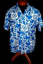 "VINTAGE ""MALIHINI"" 1960'S BLUE & WHITE FLOWER COTTON HAWAIIAN  SHIRT SIZE SMALL"