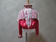 Scarlet Red Silk Vict. Girl's Bodice w/ Handmade Lace, Detachable Collar - Doll