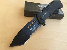 "8.5"" MTech Black Half Serrated Spring Assisted Folding Pocket Knife Tanto"