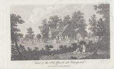 1785 engraving of View of the Old Church at Hampsted ( Hampstead ) by Goldar