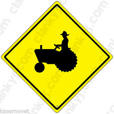 """TRACTOR - Caution 16.5"""" Diamond Yellow Aluminum Sign Made in USA UV Protected"""