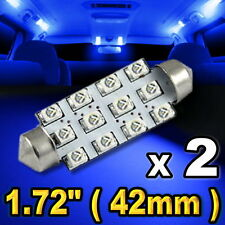 "2x Blue LED Lights For Dome Map 12-SMD 1.72"" 42mm 211-2 578 #"