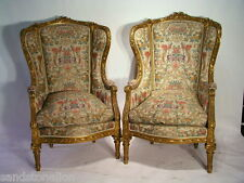 Antique Pair Of LOUIS XVI BERGERE WING CHAIRS MUSEUM QUALITY.WGoverment /Papers