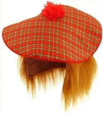 SCOTTISH HAT BURNS FANCY DRESS TAM-O-SHANTER & HAIR TARTAN SCOTLAND NIGHT UK