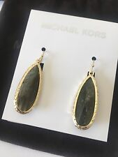 MICHAEL KORS Gold Tone Gray Semi-Precious Stone Drop Earrings New Jewelry Pouch