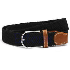 New Men Leather Braided Elastic Stretch Cross Buckle Casual Golf Belt Waistband