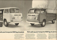 Publicité Advertising 1972  ( Double page )  VW  camionnette pick up VOLKSWAGEN