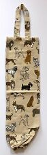 Dog Fabric Plastic Grocery Bag Holder Dispenser | Cotton | Beige