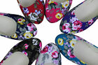 Pretty Womens Lady Ballet Flats New Flower Print Casual Ballerina Comfort Shoes