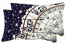 2 PC Indian Pillow Cover Astrology Zodiac Pillow Sham Cotton Cushion cover Throw