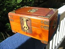 Vintage Hand Made Wooden Asian Jewlery Organizer Box .Honk Kong