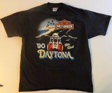 Vintage Harley Davidson 1990 Daytona Bike Week Tshirt XL Barnes FL fxr evo fxrt