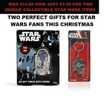STAR WARS -  R2-D2 KEYRING  & TORCH WITH SOUND AND MILLENNIUM FALCON KEY RING