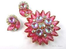 "Vintage JULIANA D&E Pink Scooped Rhinestone Brooch & Earrings SET ""BOOK PIECE"