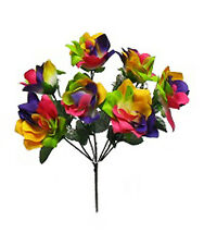 7 OPEN ROSES ~ RAINBOW ~ Silk Wedding Flowers Bouquets Bridal Decorations LGBT