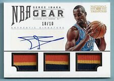 SERGE IBAKA 2012/13 NATIONAL TREASURES NBA GEAR 3 COLOR JERSEY AUTOGRAPH # 10/10