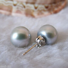 Genuine Natural 9-10mm Gray Akoya Freshwater Pearl Sterling Silver Stud Earrings