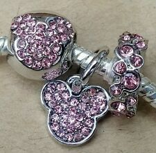 Disney Pink Crystal MICKEY All Around CZ MOUSE Icon Head European Beads Charms