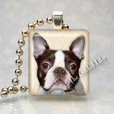 BOSTON TERRIER DOG BREED PUPPY - Scrabble Tile Altered Art Pendant Jewelry Charm