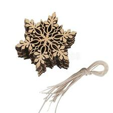 10pcs Wooden Contemporary Snowflake Ornament Christmas Tree Decorations 8cm