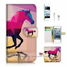 iPod Touch 6 iTouch 6 Flip Wallet Case Cover! P0216 Abstract Horse