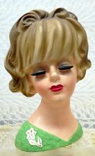 """INARCO LADY PLANTER HEAD 5 3/4"""" VASE #E3394 IN GREEN WITH A FLORAL PIN"""