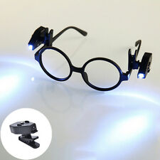 Universal Adjustable LED Glass Eyeglass Clip On Mini Book Reading Light Lamp FG