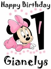 "MINNIE MOUSE Iron-On for a White T-shirt Personalized NAME & AGE 5""X7"""