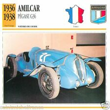 AMILCAR PEGASE G36 1936 1938 CAR VOITURE FRANCE CARTE CARD FICHE