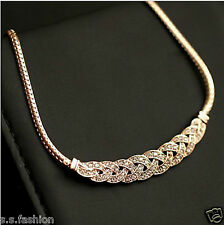 New Chunky Fashion Gold Finish imitation diamond Short Clavicle Chain Necklace.