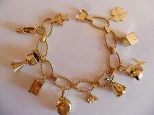 Damen Bettelarmband 14 Karat 585 Gelbgold Armband 9 Anhänger 20cm 39 Gramm