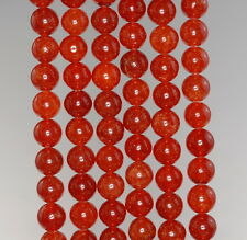 8MM  JADE GEMSTONE GRADE A RUBY RED  ROUND LOOSE BEADS 15""