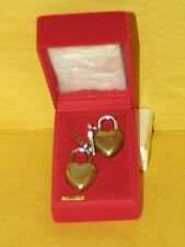 "Vintagse 80's Brass Lovelock 1 7/8"" Heart Shaped Padlock Set  2 with 2 Keys NOS"