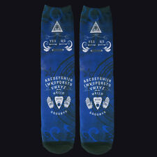 DARKSIDE BLUE OUIJA BOARD SOCKS. HIGH QUALITY PRINTING. GOTHIC HORROR. OCCULT.