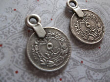 Small Sultan's Tughra Coins Ethnic Charms Pendants Silver Plated Pewter - Qty 2