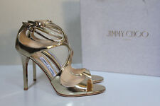sz 8 / 38 Jimmy Choo Lang Strappy Gold Metallic Leather Ankle Cage Sandals Shoes