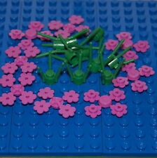 LEGO: Pack of 10 Green Stems & 32 Pink Flowers. ( 3741 / 3742 ). BRAND NEW.