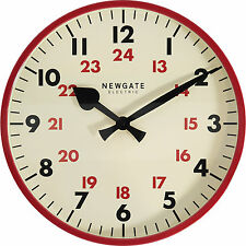 NEWGATE - LARGE PUTNEY RED GLOSS WALL CLOCK - 24 HOUR TIMINGS - RETRO CHIC !!!