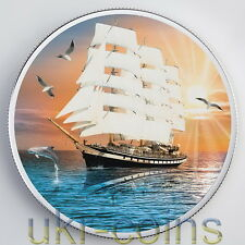 2016 Cameroon 1Oz Silver Coin Fengshui Chinese Wealth Ship Dolphin Sea Gull Boat