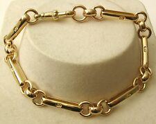 GENUINE SOLID 9K 9ct YELLOW GOLD ALBERT BRACELET with SWIVEL CLASP