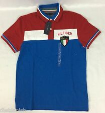 Tommy Hilfiger Men's Polo Shirt Italia Italy NWT Red White Blue Size Medium